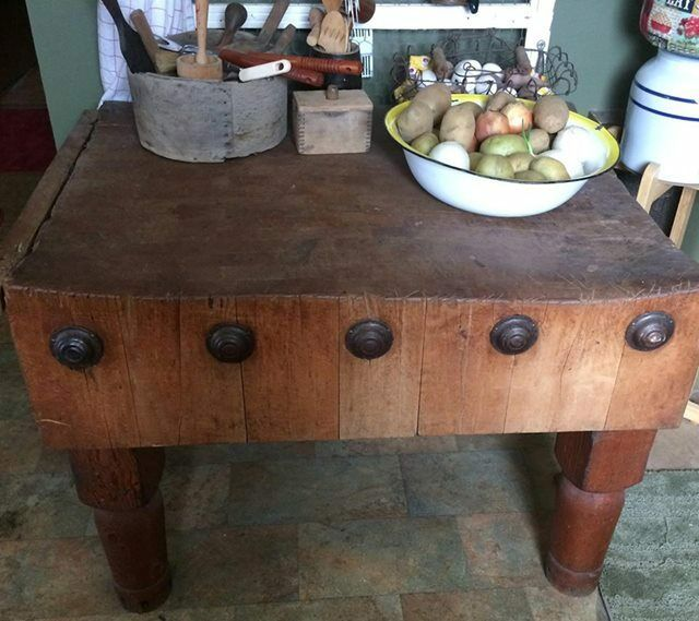 antique butcher block chopping table kitchen island solid