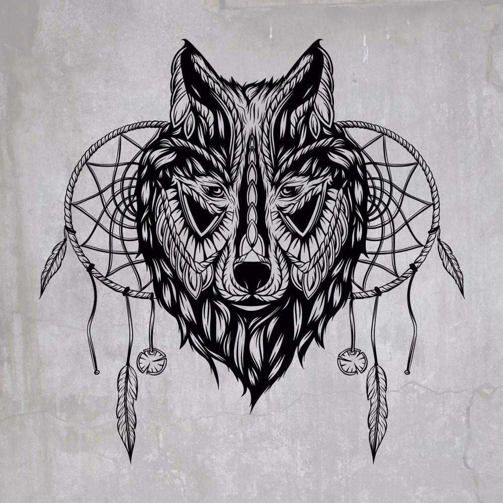 DREAM CATCHER Mandala WOLF illustration Vinyl Wall Decal ...
