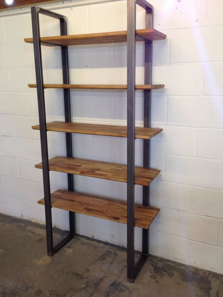 commercial metal shelving steel and oak industrial shelving storage unit by stoaked 13753