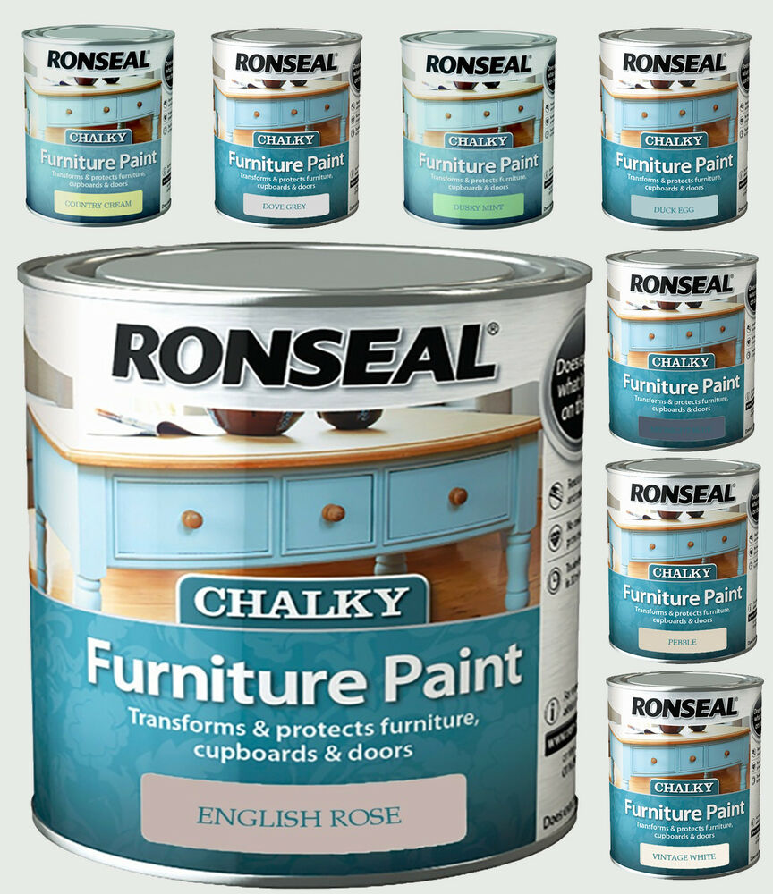Ronseal Chalky Furniture Paint 750ml For Cupboards Doors In Various Colour New Ebay