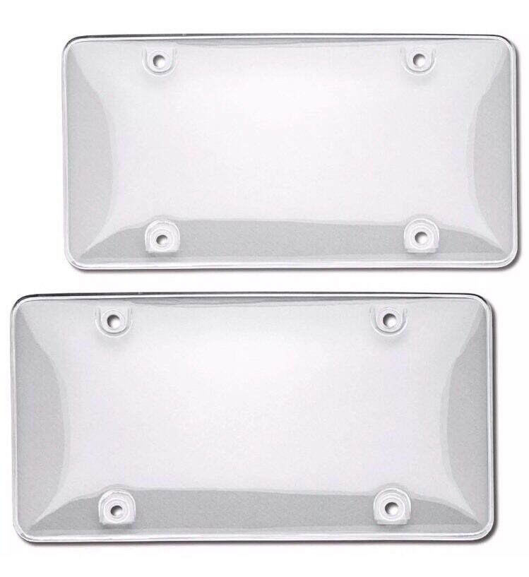 2pcs ABS Plastic Clear License Plate Tag Cover Frame ...