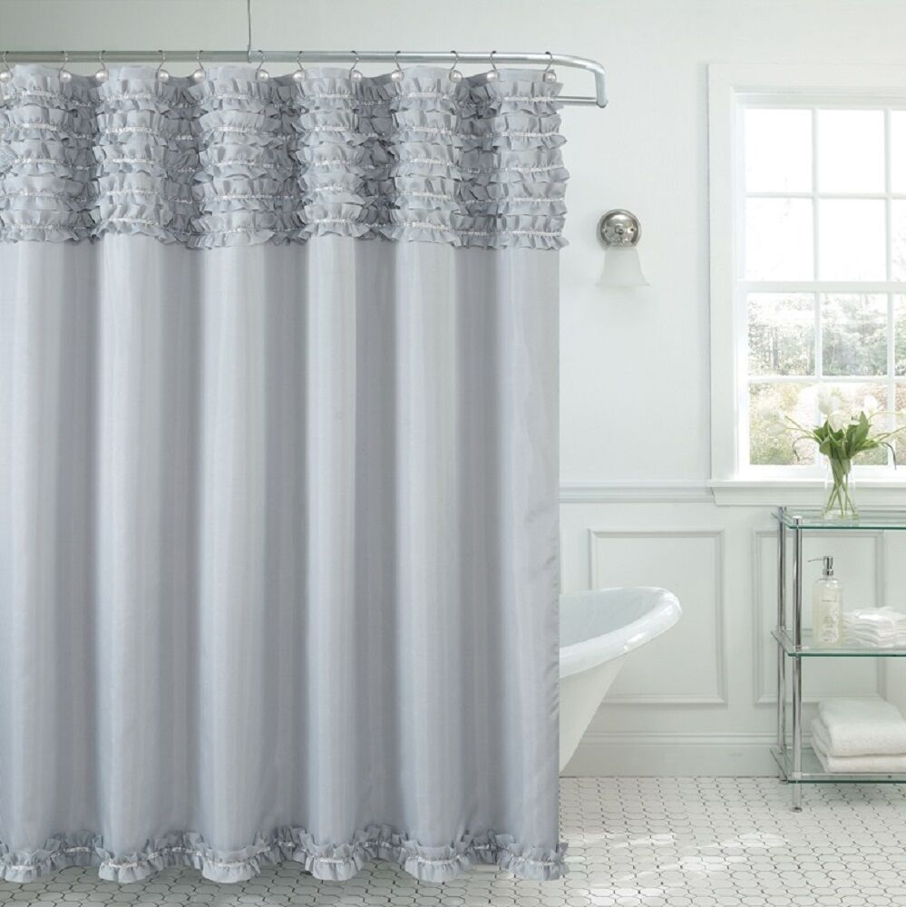 Beverly Hills Ruffle Premium Quality Fabric Shower Curtain