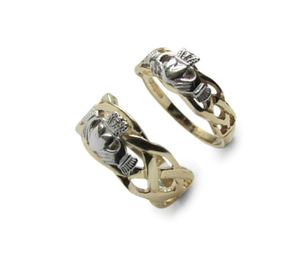 Irish Claddagh His Amp Her Matching Two Tone Gold Wedding Band Set Made In Ireland