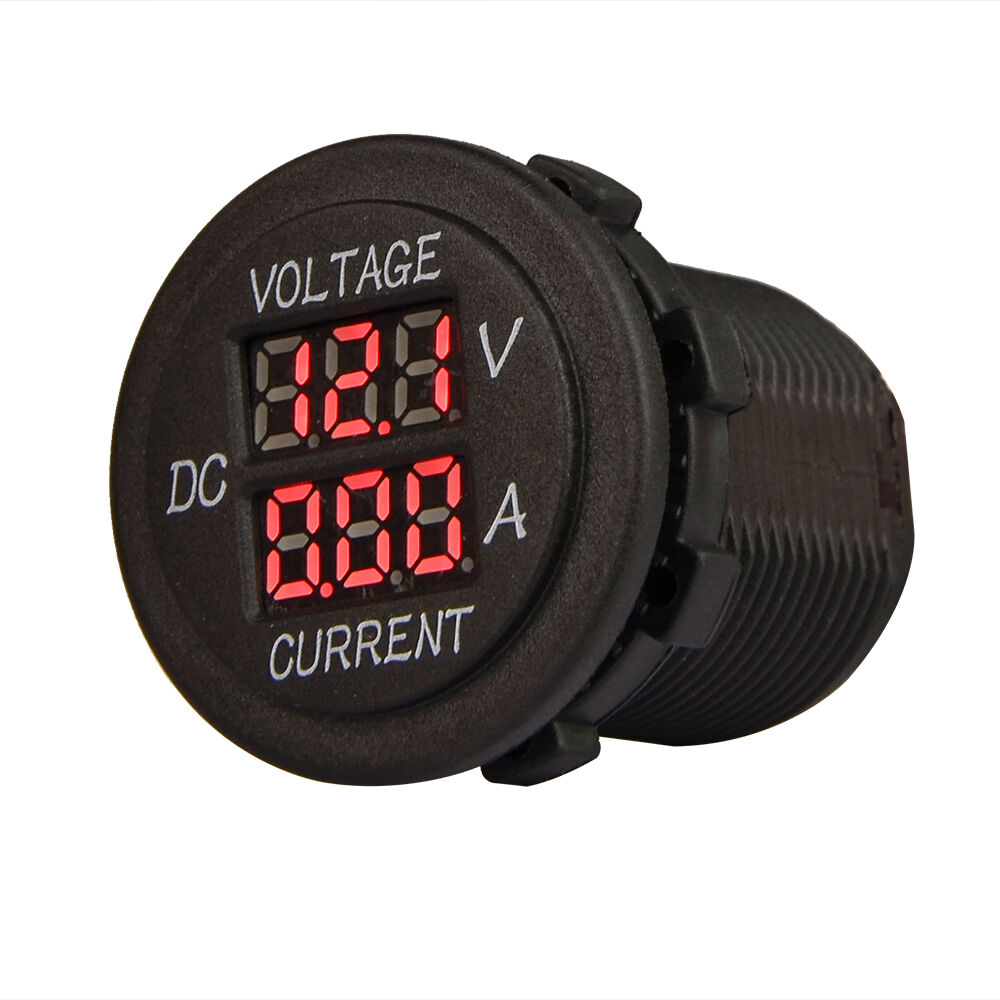 12v 24v 10a red backlit dual amp volt meter gauge round. Black Bedroom Furniture Sets. Home Design Ideas