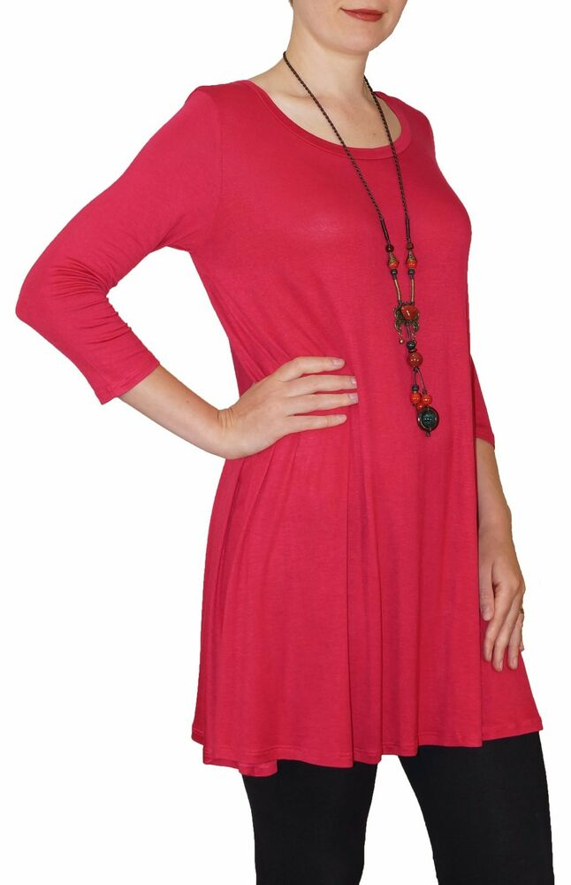 New 3 4 sleeve red stretch tunic top shirt blouse dress s for Plus size 3 4 sleeve tee shirts