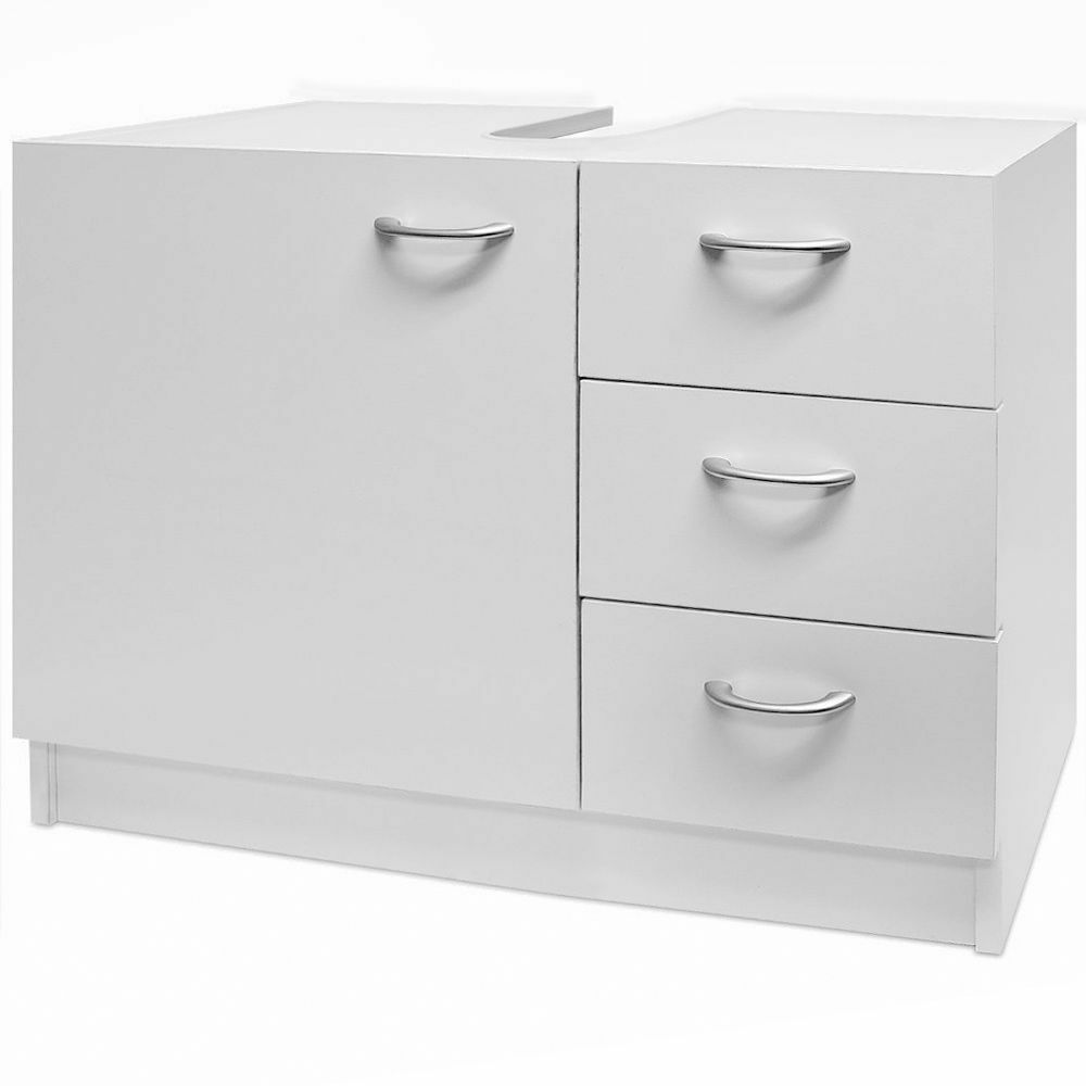 White Bathroom Cabinet Modern Under Sink Storage Unit Cupboard Bath 3 Drawers