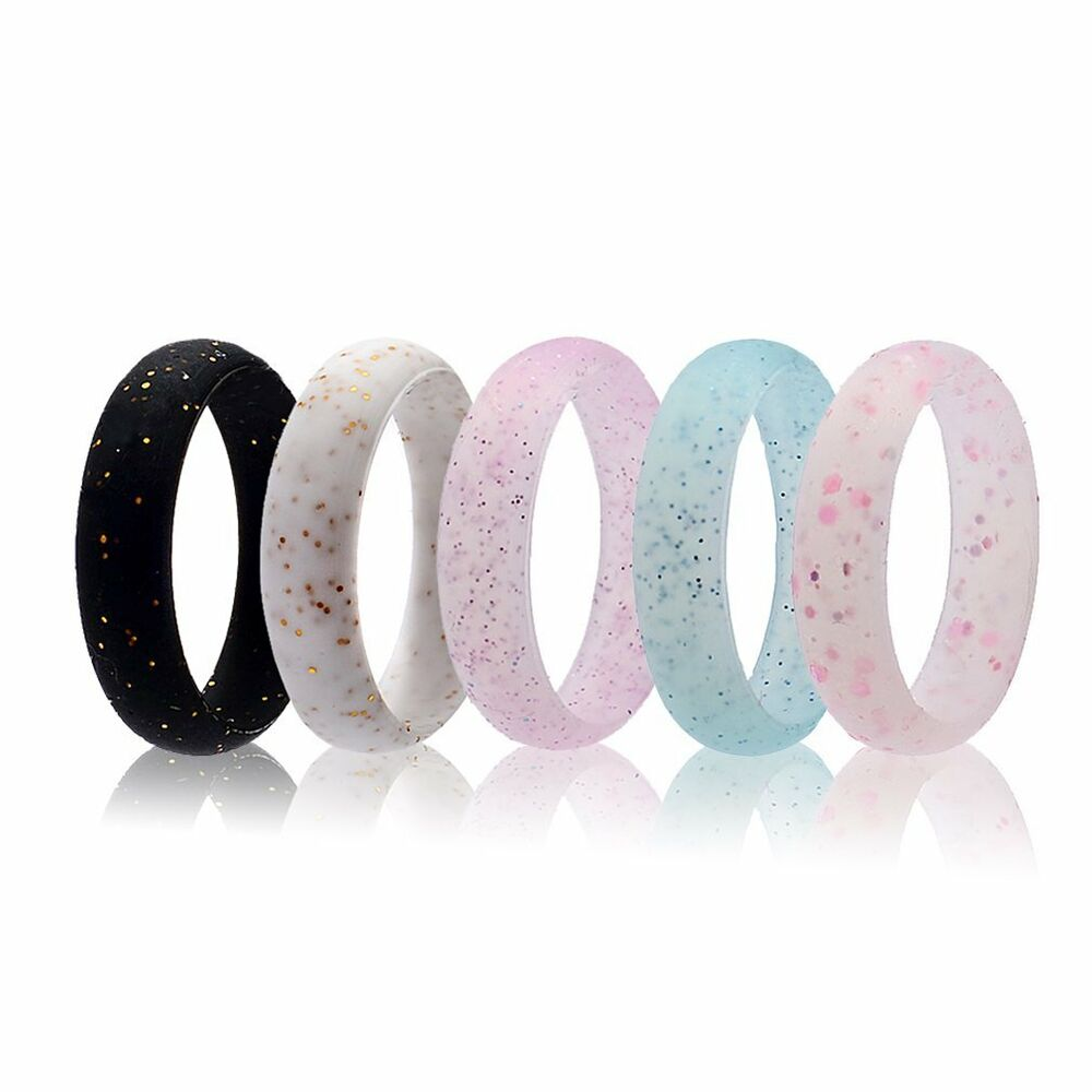 Rubber Band Wedding Rings >> 5 Pcs Silicone Wedding Ring Women Glitter Sport Rubber Band Outdoor Modern | eBay