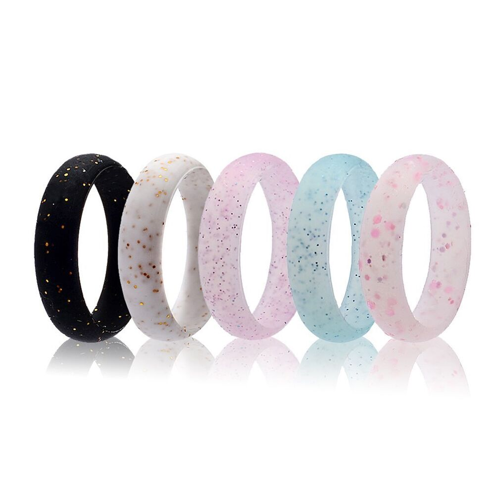 5 Pcs Silicone Wedding Ring Women Glitter Sport Rubber