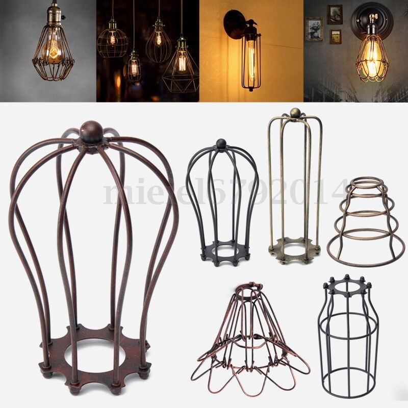 r tro loft ampoule lampe plafond abat jour pendentif cage protection industriel ebay. Black Bedroom Furniture Sets. Home Design Ideas