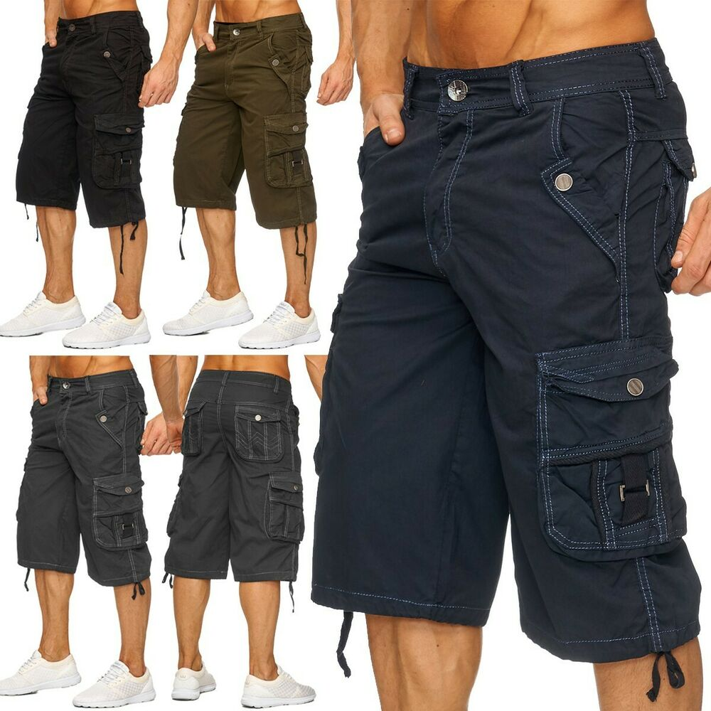 herren cargo capri bermuda kurze hose arbeitshose shorts taschen sommer hot ebay. Black Bedroom Furniture Sets. Home Design Ideas