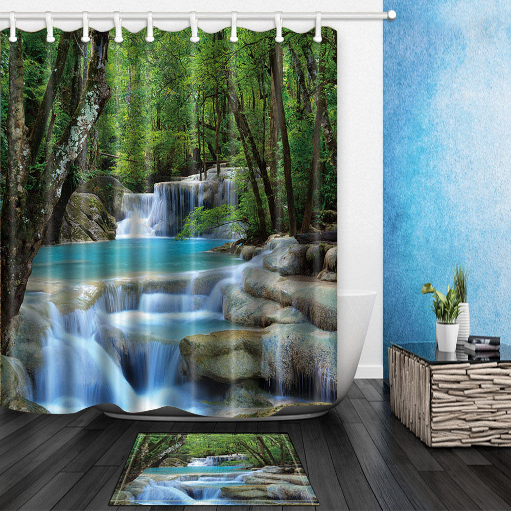 Dream Waterfall Waterproof Polyester Shower Curtain