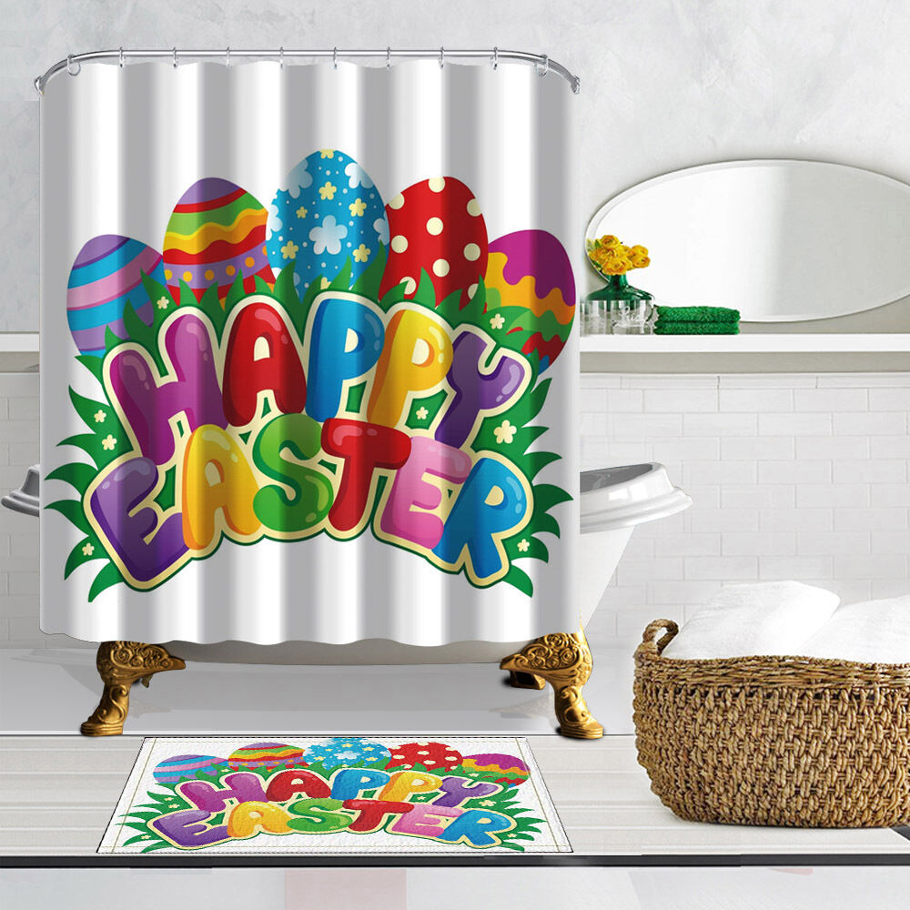 Http Www Ebay Com Itm Easter Egg Waterproof Polyester Fabric Home Decor Shower Curtain Bathroom Mat 262898475214