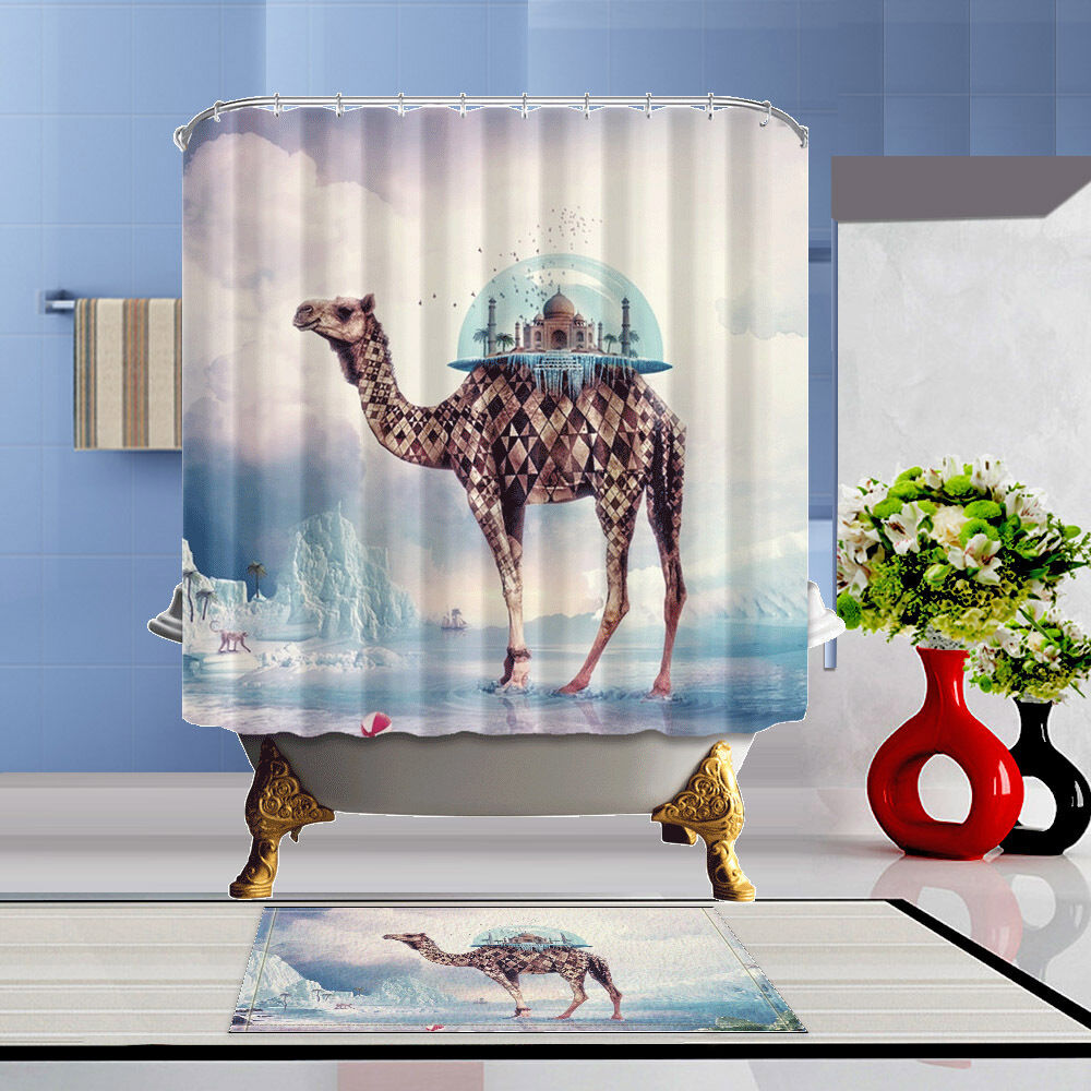 Details About Creative Camel Shower Curtain Bathroom Waterproof Polyester Fabric 12 Hooks