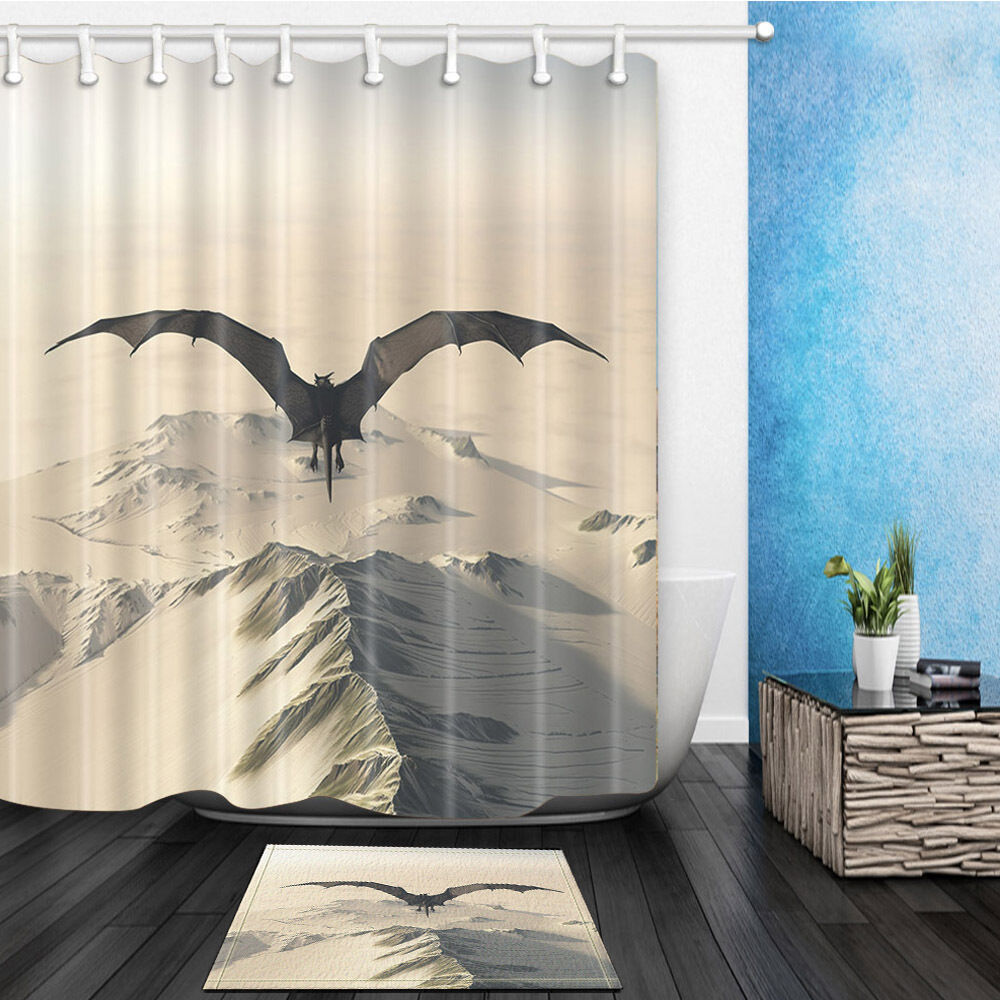 Flying dragon waterproof polyester home decor shower for Waterproof bathroom murals