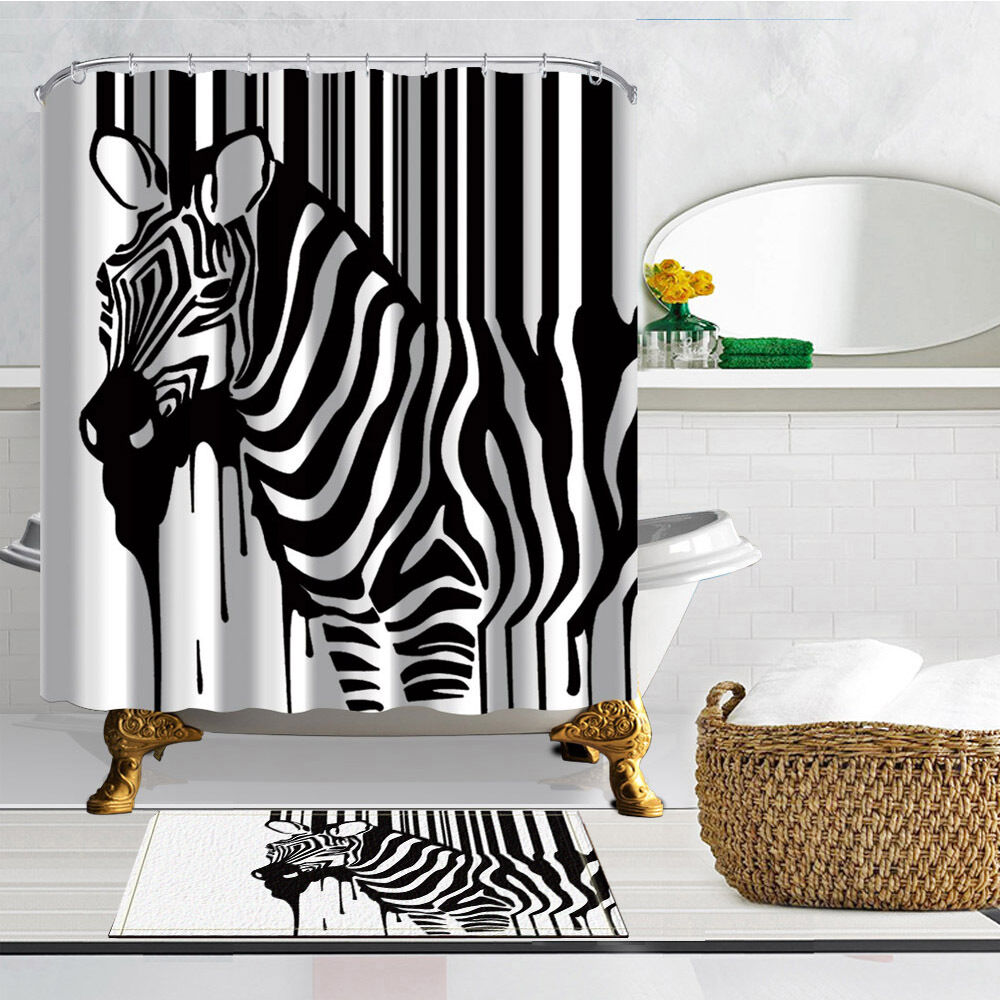 Creative Zebra Shower Curtain Flannel Bath Rug Mat Contour
