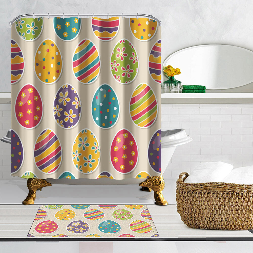 Happy Easter Egg Waterproof Polyester-Fabric Shower
