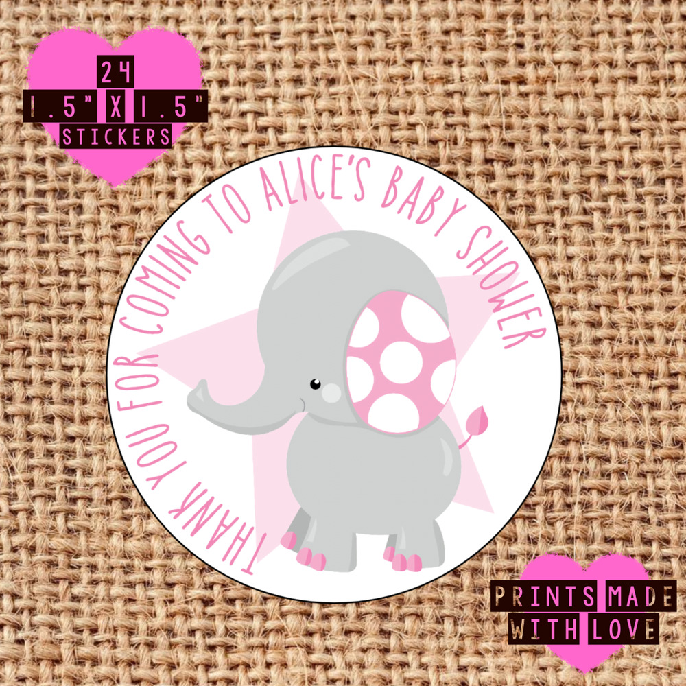 Personalised 24 Pink Elephant Baby Shower Stickers Sweet Cone Bse Ebay