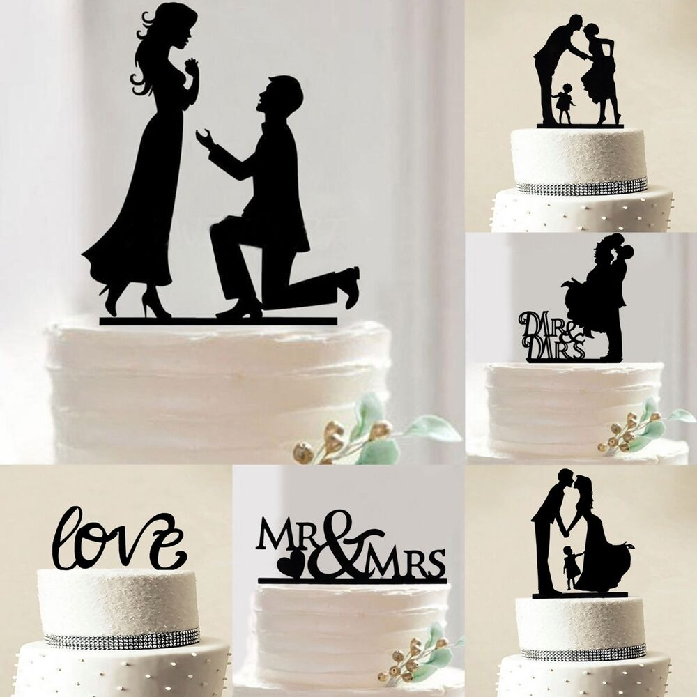 Acrylic Mr &Mrs Bride Groom Wedding Love Cake Topper Party