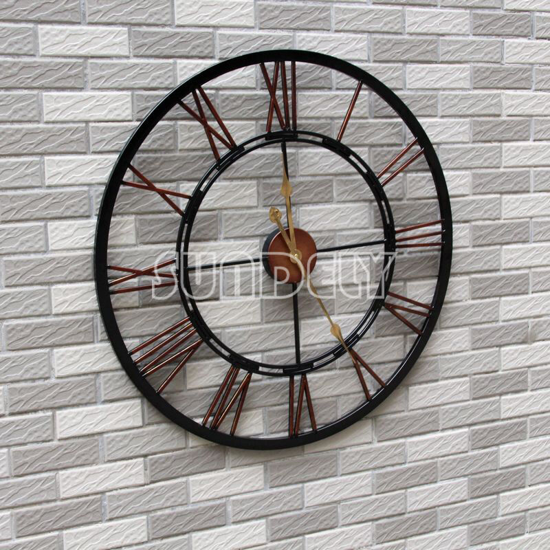 New large roman numeral wall clock 70cm black metal indoor outdoor ebay - Large roman numeral wall clocks ...