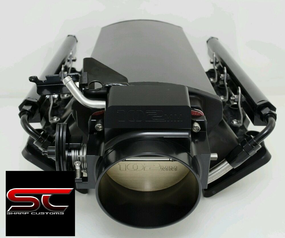 Stock Ls1 Intake Height: Short Fabricated BLACK LS3 Intake Manifold Fuel Rails