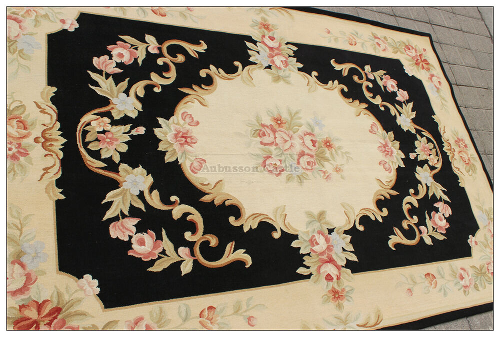 Black Ivory W Pink Rose Aubusson Area Rug Wool Woven
