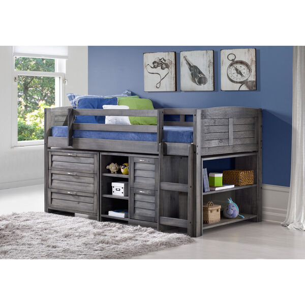 Donco Kids Grey Louver Low Loft Bed With Chests Shelves