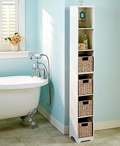 Slim Narrow Storage Tower Cabinet Bathroom Tall Adjustable Shelves Wood 6 Tier Ebay