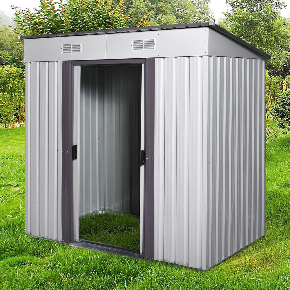 4' x 6' Outdoor Storage Shed Box Steel Utility Tool ...