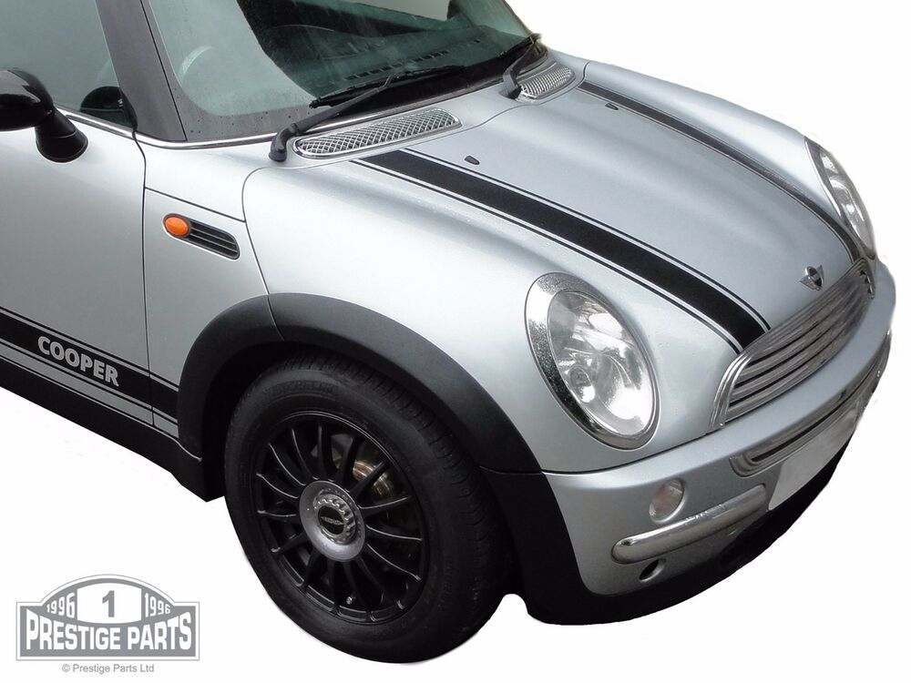 black bonnet stripes for mini cooper r50 genuine top quality vinyl decals ebay. Black Bedroom Furniture Sets. Home Design Ideas
