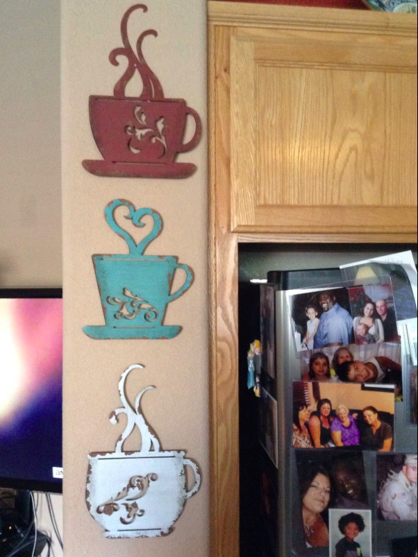 Kitchen Wall Decor Blue : Metal coffee cups turquoise red white set of heart