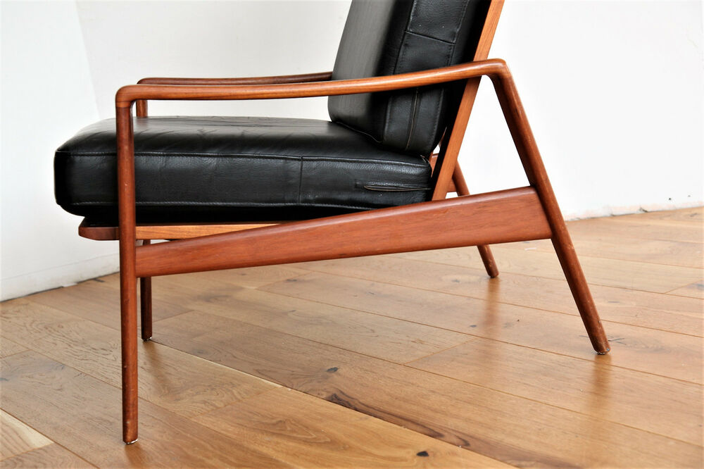 60er 70er leder sessel komfort arne wahl iversen lounge chair danish teak ebay. Black Bedroom Furniture Sets. Home Design Ideas
