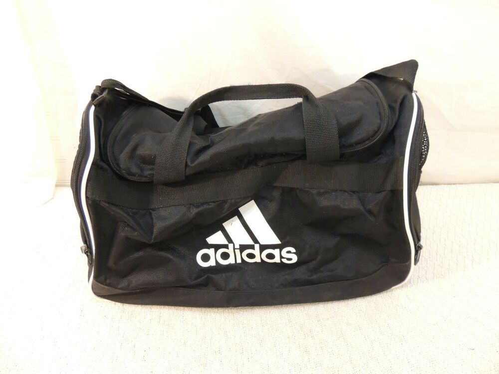 a2ee33754 Details about Adidas Small Black Duffle Bag Gym Bag Ventilated Pockets  White Logo 50935