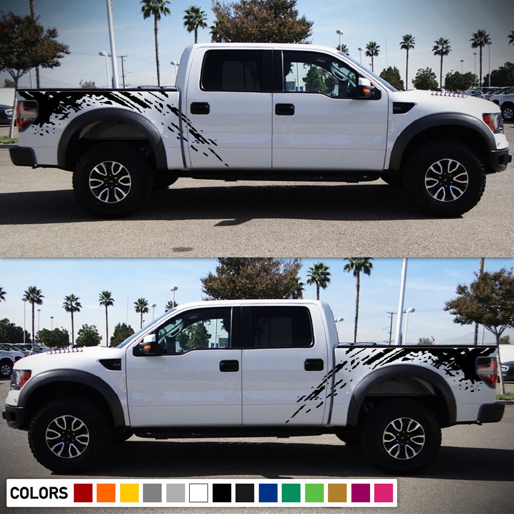 Decal Sticker Vinyl Side Bed Mud Splash Kit For Ford Raptor Svt F 150 2009 2017 Ebay
