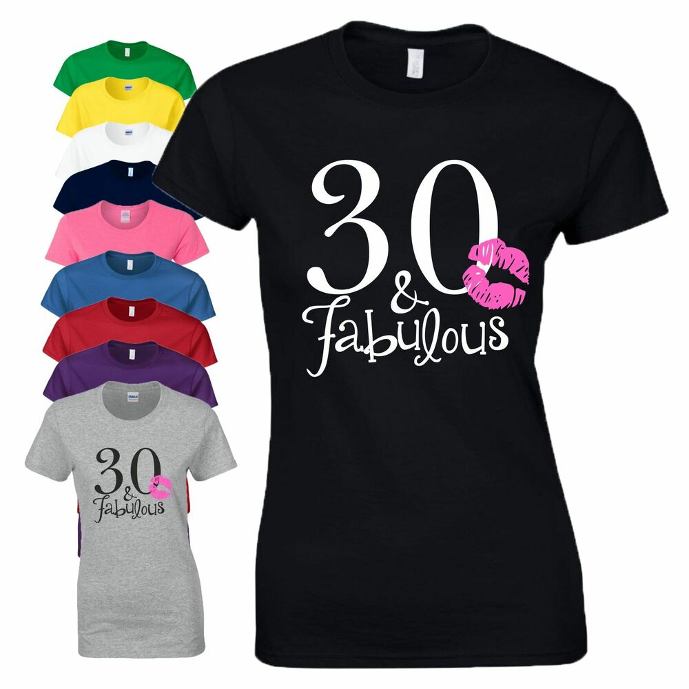 c62cecaa4 Details about 30th Birthday Gift T-Shirt Made In 1989 Love 30 And Fabulous  Kiss Ladies Tee Top