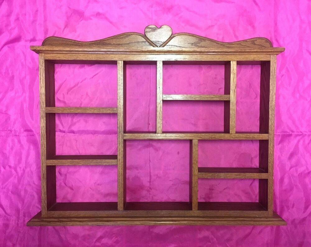 vintage large oak wood 10 section display shelf wall curio nice ebay. Black Bedroom Furniture Sets. Home Design Ideas