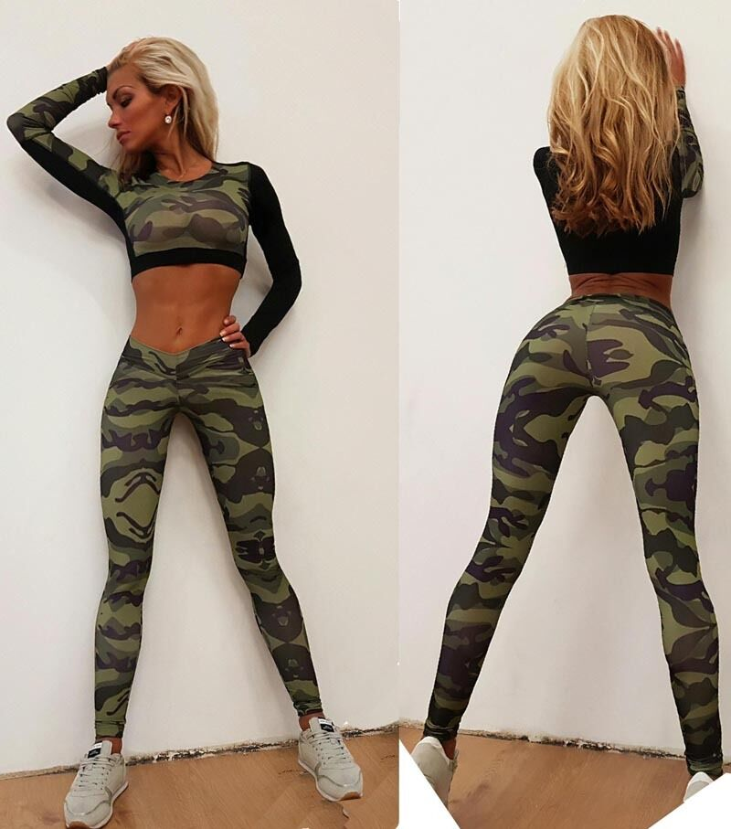 Women Camouflage Print 2Pcs Tracksuit Gym Sports Leggings