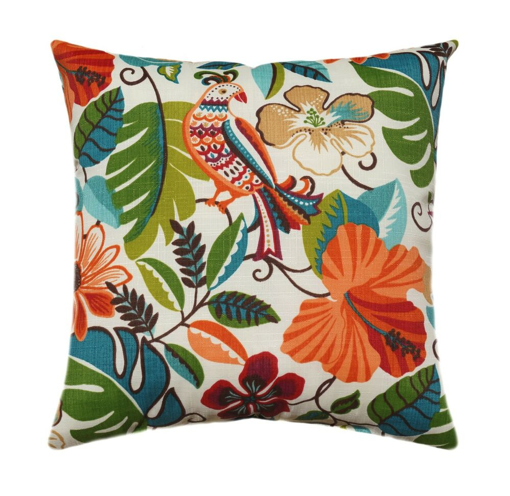 Newport Throw Pillows Birds : Red Orange Floral Outdoor Throw Pillow, Lensing Jungle Bird Flower Patio Pillow eBay