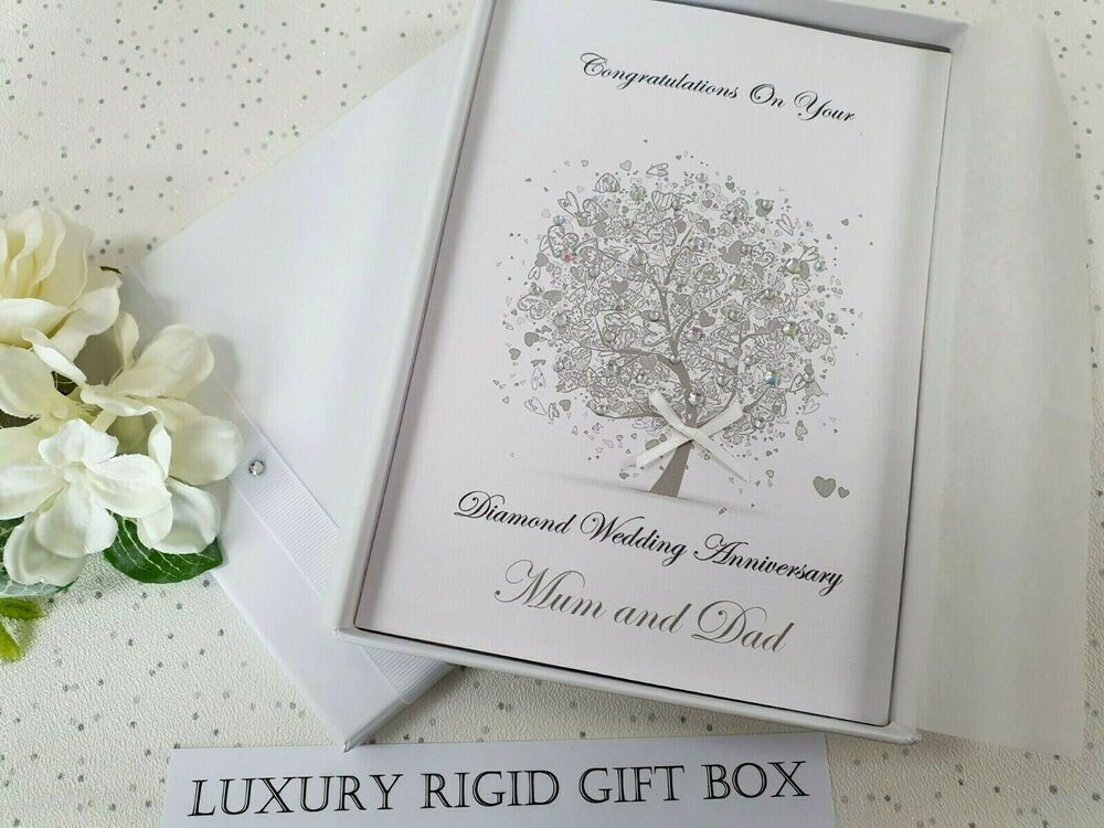 Ideas For 60th Wedding Anniversary Gifts For Parents: Diamond 60th Wedding Anniversary Card Handmade
