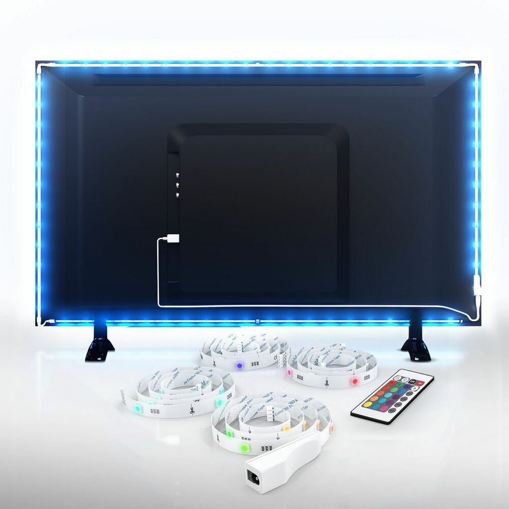 led usb backlight tv hintergrund beleuchtung licht band stripes streifen 48x rgb ebay. Black Bedroom Furniture Sets. Home Design Ideas