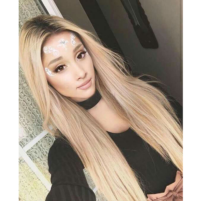 Custom Natural Blonde Lace Front Light Roots Celebrity Ash