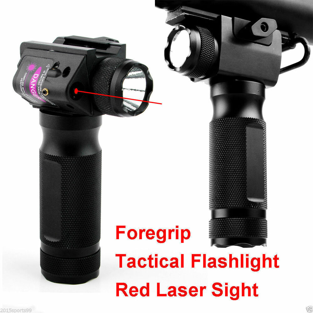 Tactical Foregrip Hand Grip W Cree Led Flashlight W Red