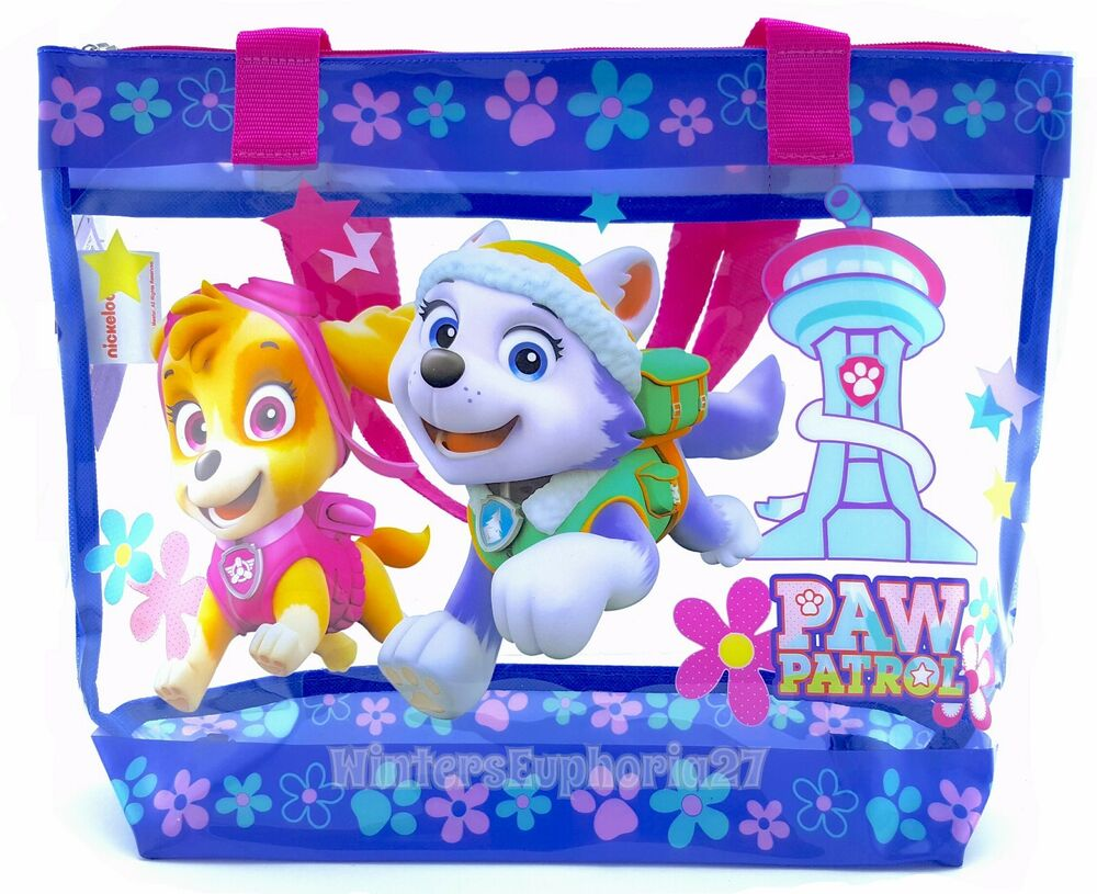 Paw Patrol Toy Organizer Bin Cubby Kids Child Storage Box: Paw Patrol Kids Clear Tote Bag With Zipper Toy Storage For