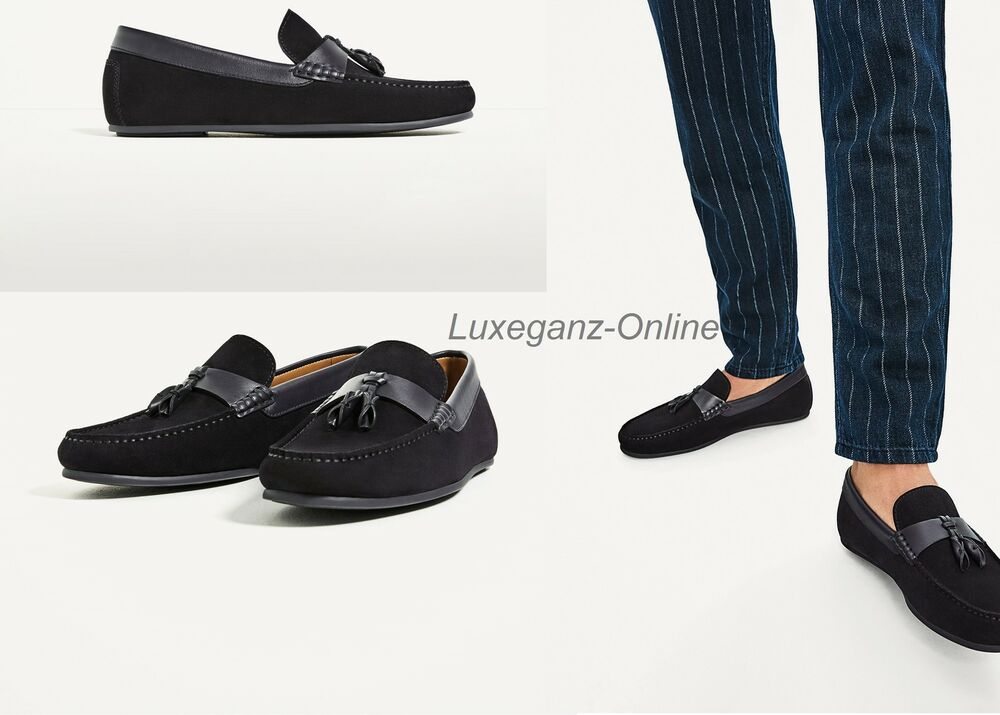 fc66ebee6b1a ZARA MAN TASSELLED COW LEATHER SUEDE LOAFERS FLAT MEN SHOES NEW NAVY COLOUR