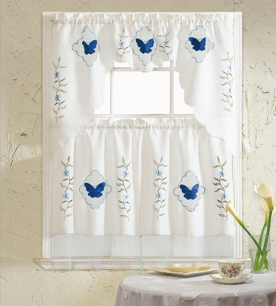 Blue Green Kitchen Curtains: BH Home Blue Butterfly Embroidered 3-Piece Kitchen Curtain