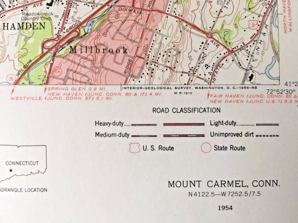 MOUNT CARMEL CT 1954 TOPOGRAPHICAL MAP United States Geological ...