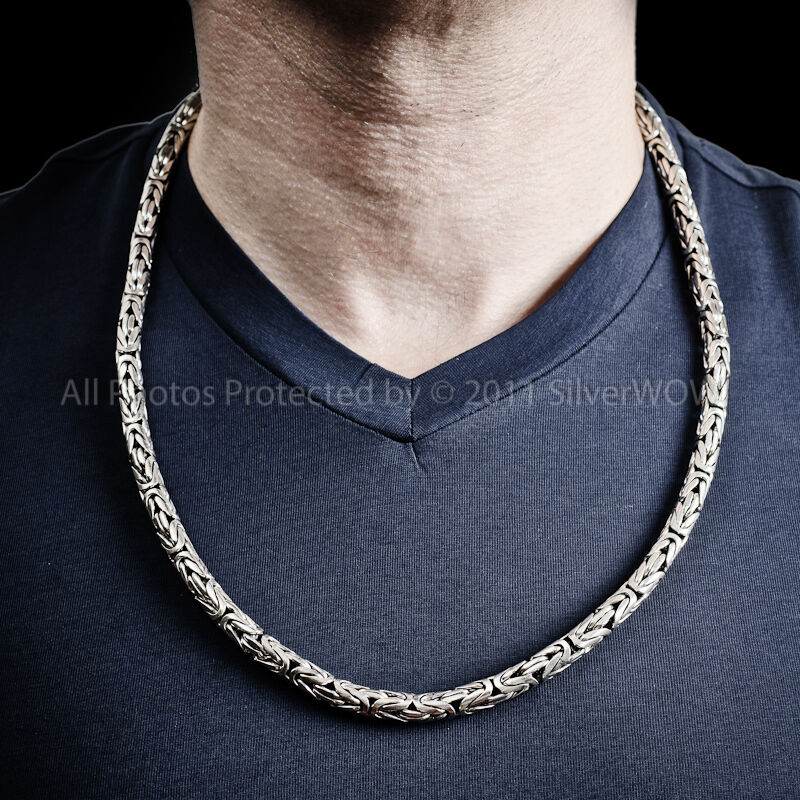 Bali Byzantine Necklace Heavy 6mm Wide Chain 925 Solid