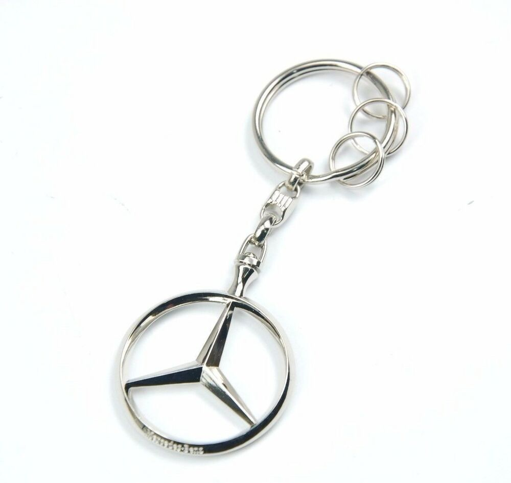 Genuine oem mercedes benz brussel silver keyring key chain for Mercedes benz key chain