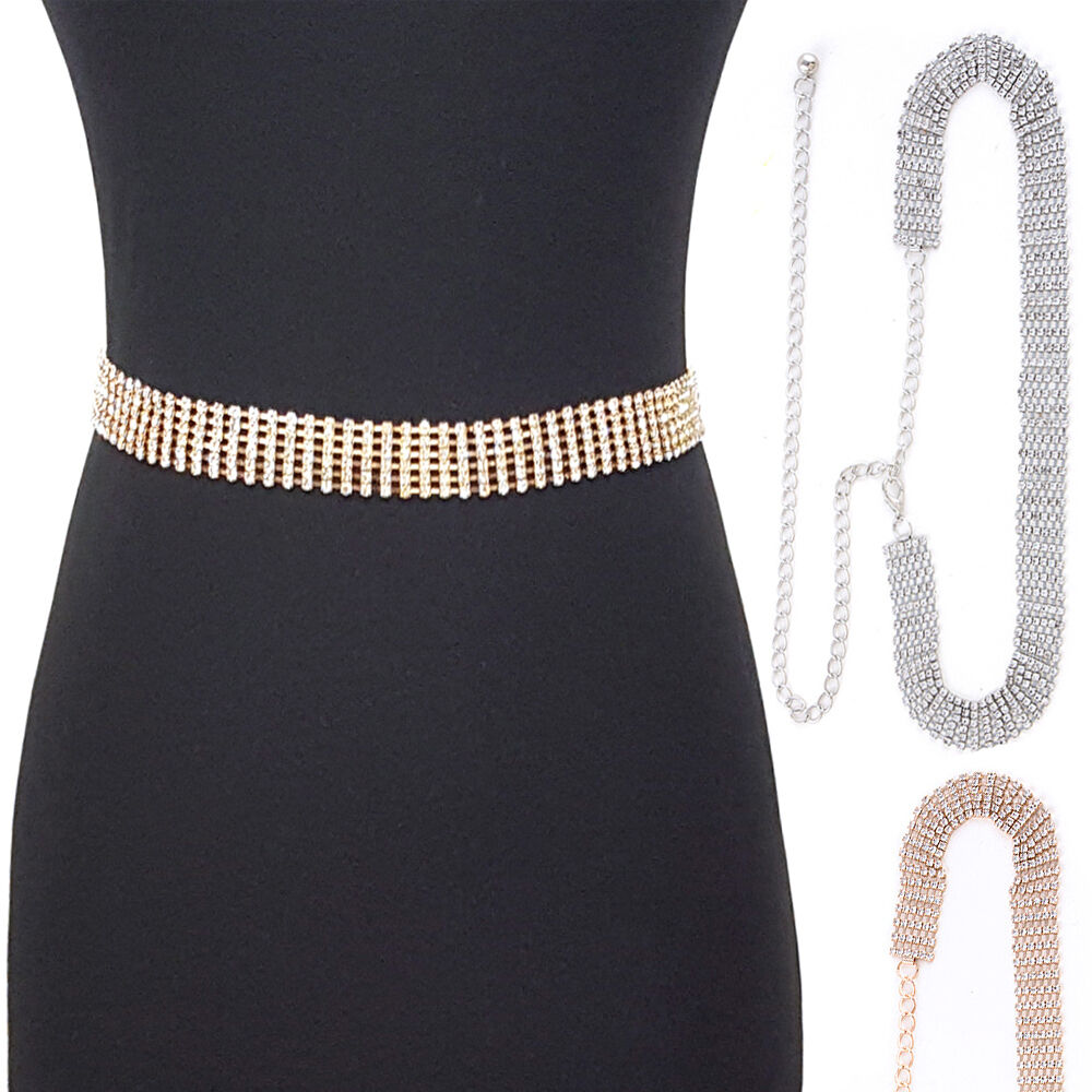 Bling rhinestone full metal chain belt wide waist hip prom for Wedding dresses for big hips