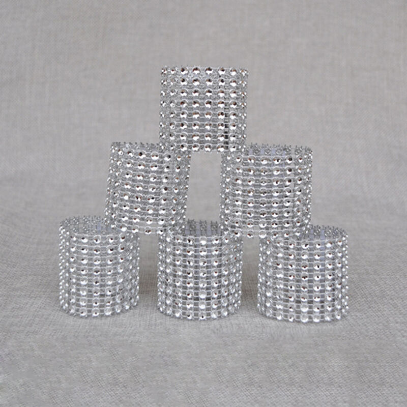 100pcs bling diamond rhinestone mesh wrap napkin ring