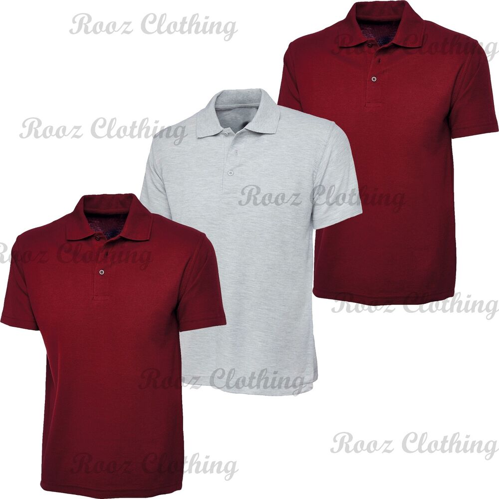 bf875bd2 Details about 3 Pack Mens & Womens Plain Polo Shirt Short Sleeve 2 Maroon &  1 Grey Small New